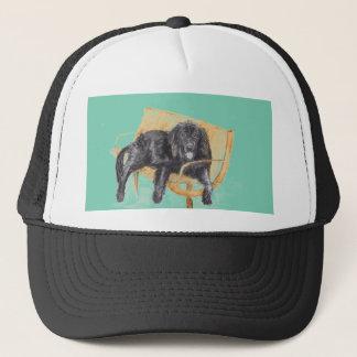 ベンチ、帽子のニューファウンドランド犬 キャップ