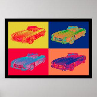 ベンツ300 SLの変換可能なポップアート ポスター