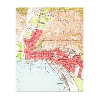 ベントゥーラカリフォルニア(1951年)のヴィンテージの地図 キャンバスプリント