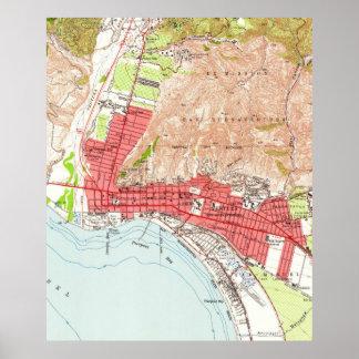 ベントゥーラカリフォルニア(1951年)のヴィンテージの地図 ポスター