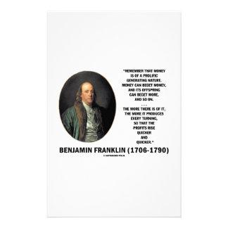 ベンフランクリンのお金の多産の発生の自然 便箋