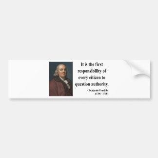 ベンフランクリンの引用文3b バンパーステッカー