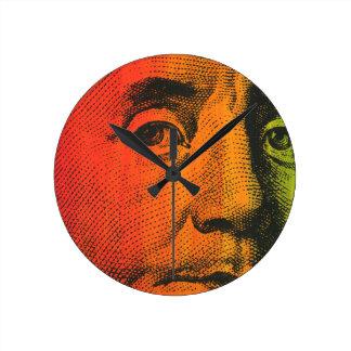 ベンフランクリンの肖像画の絵画及びシルクスクリーン ラウンド壁時計