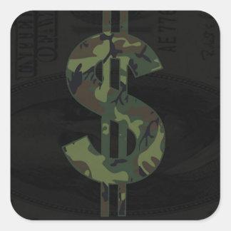ベンフランクリンの迷彩柄のお金の記号$100 スクエアシール