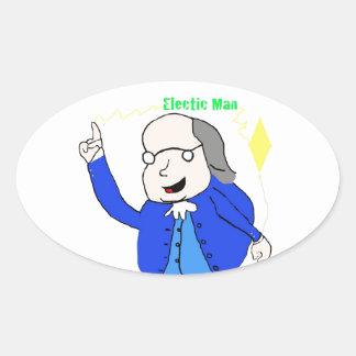 ベンフランクリンは電気のステッカーを発見します 楕円形シール