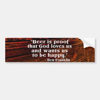 ベンフランクリン有名なビール引用文 バンパーステッカー