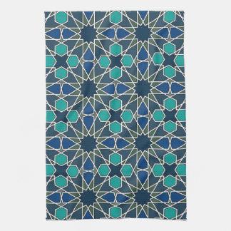 ベンYusuf Madrasaの幾何学的なパターン0-0-7 キッチンタオル