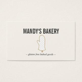 ベーカリーのためのベージュ色のオーブンのミットのロゴの金ゴールド 名刺