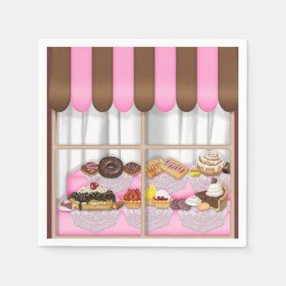 ベーカリーの窓の菓子は紙ナプキンを扱います スタンダードカクテルナプキン