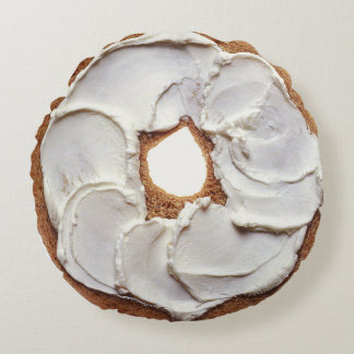ベーゲルそしてクリームチーズの円形の枕 ラウンドクッション