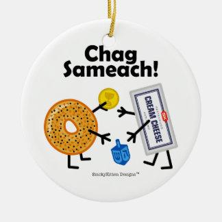 ベーゲル及びクリームチーズ- Chag Sameach! セラミックオーナメント