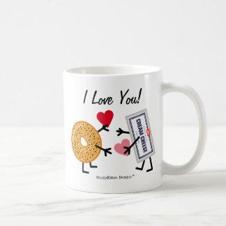 ベーゲル及びクリームチーズI愛! バレンタインのハート コーヒーマグカップ