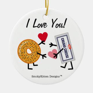 ベーゲル及びクリームチーズI愛! バレンタインのハート セラミックオーナメント