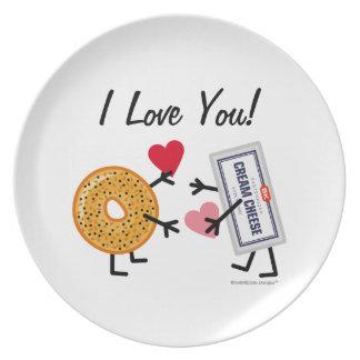 ベーゲル及びクリームチーズI愛! バレンタインのハート プレート
