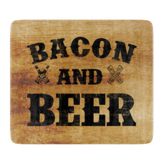 ベーコンおよびビール素朴な木 カッティングボード