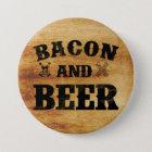 ベーコンおよびビール素朴な木 缶バッジ