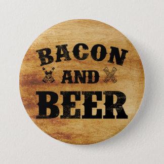ベーコンおよびビール素朴な木 7.6CM 丸型バッジ