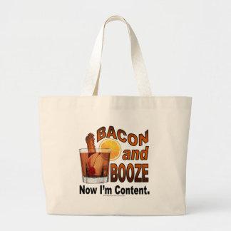 ベーコンおよび酒宴! 今度は私は満足-カクテルのユーモアです ラージトートバッグ