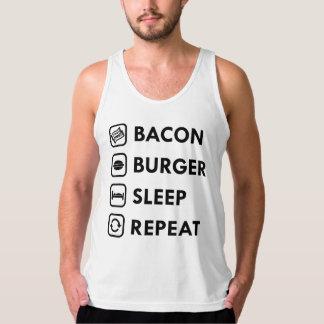 ベーコンのハンバーガーの睡眠の繰り返し タンクトップ