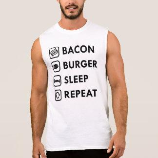 ベーコンのハンバーガーの睡眠の繰り返し 袖なしシャツ