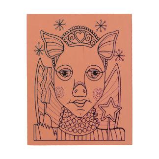 ベーコンの妖精のプリンセスの線画のデザイン ウッドウォールアート