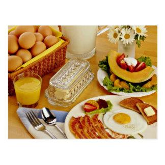 ベーコンの朝食、ミルクの卵および水差しは流れます ポストカード