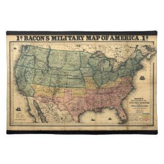 ベーコンの米国(1862年)の軍の地図 ランチョンマット