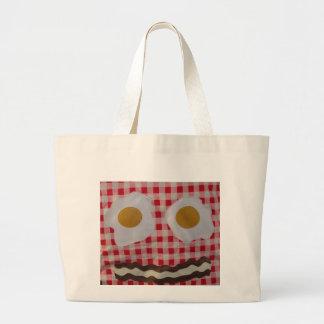 ベーコン・エッグの朝食のバッグ ラージトートバッグ