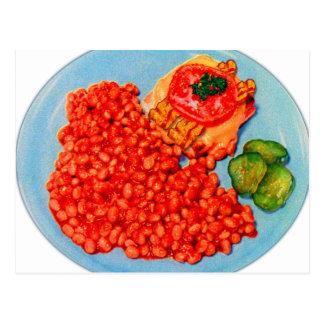 ベーコンBuegerおよび豆のヴィンテージの低俗な広告の芸術 ポストカード