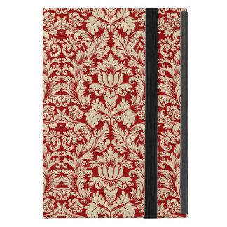 ベージュおよび暗い深紅の花柄のダマスク織 iPad MINI ケース