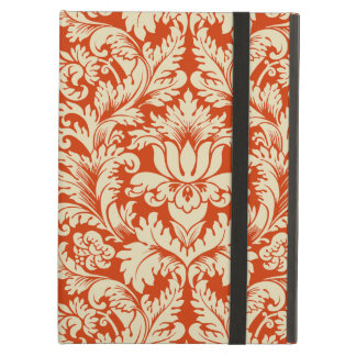 ベージュおよび朱色のヴィンテージの花柄のダマスク織