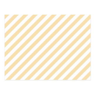 ベージュおよび白い斜めの縞 ポストカード