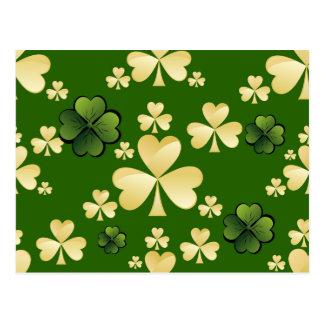 ベージュおよび緑のクローバー ポストカード