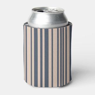 ベージュか深いブルーグレーシンプルでスタイリッシュでストライプなパターン 缶クーラー
