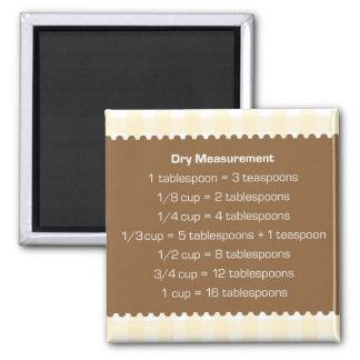 ベージュギンガムの乾量単位・液量単位の図表の台所助手 マグネット