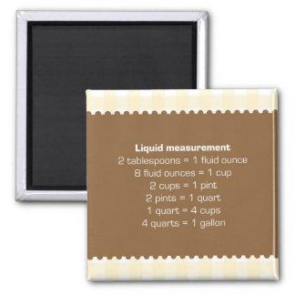 ベージュギンガムの液体測定の図表の台所助手 マグネット