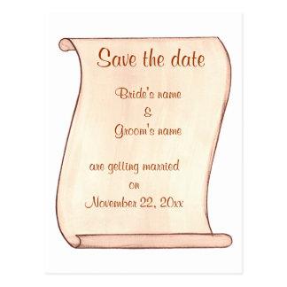 ベージュブラウンスクロール保存日付の結婚式の郵便はがき ポストカード