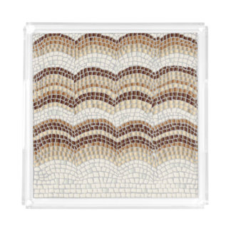 ベージュモザイク中型の正方形のトレイ アクリルトレー