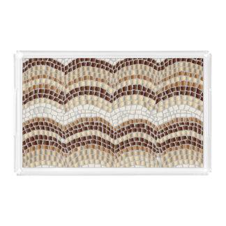 ベージュモザイク中型の長方形のトレイ アクリルトレー