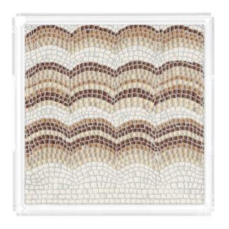 ベージュモザイク大きい正方形のトレイ アクリルトレー