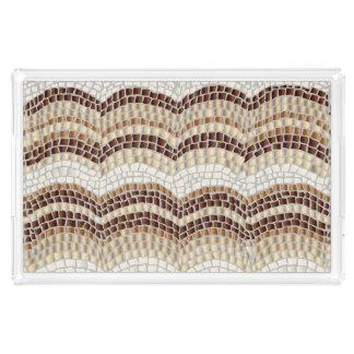 ベージュモザイク大きい長方形のトレイ アクリルトレー