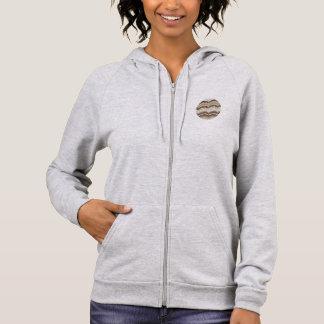 ベージュモザイク女性のジッパーのフード付きスウェットシャツ パーカ