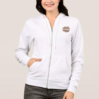 ベージュモザイク女性の全ジッパーのフード付きスウェットシャツ パーカ