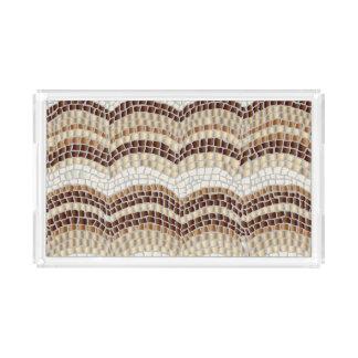 ベージュモザイク小さい長方形のトレイ アクリルトレー