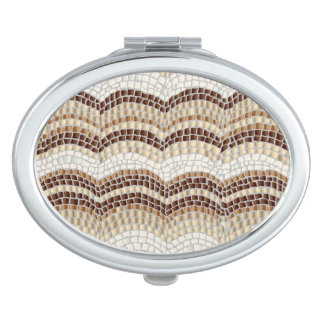 ベージュモザイク楕円形の密集した鏡