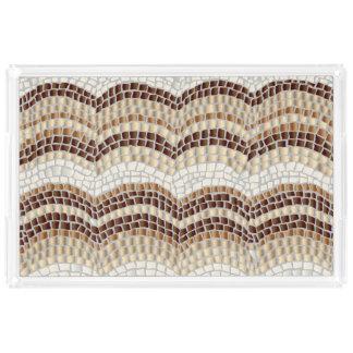 ベージュモザイク特大長方形のトレイ アクリルトレー