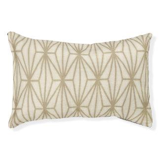 ベージュ幾何学的なプリント犬のベッド