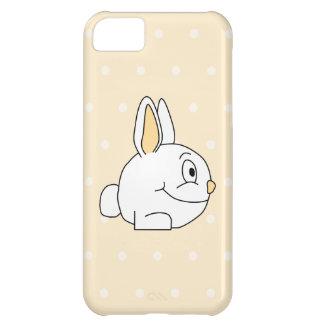 ベージュ水玉模様の木靴の白いウサギ、 iPhone5Cケース