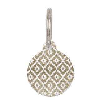 ベージュ煉瓦アステカな種族のプリントのイカットのダイヤモンドPattrn ペット ネームタグ
