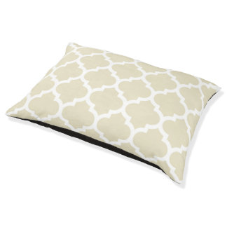 ベージュ白いモロッコのクローバーパターン#5 ペットベッド